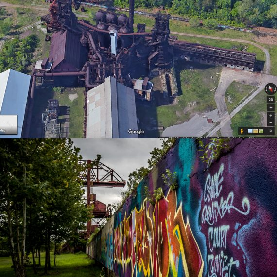 Carrie Furnace on Google Earth and the actual Ore Yard Wall - Piece painted for Verizon's go90 TV show