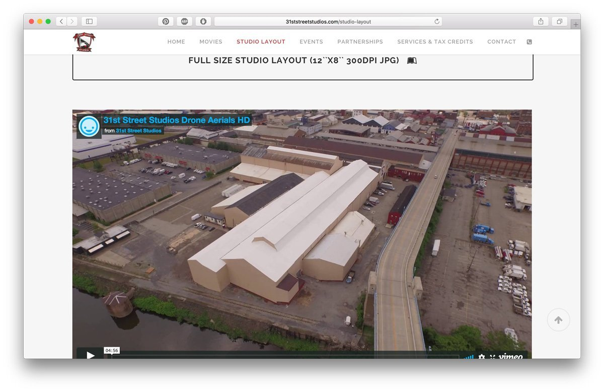 31ststreetstudios.com - studio layout and drone footage page