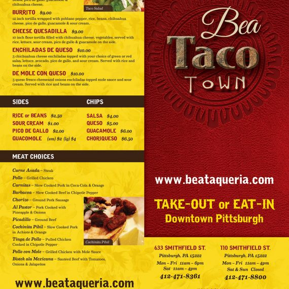 Bea Taco Town menu design, printing, food photography