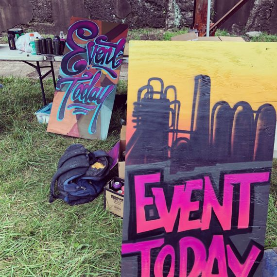 Live sign painting at the Community Day 2018 event at Carrie Furnace